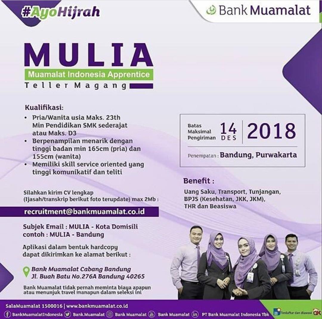 Info Lowongan Kerja Terbaru PT Bank Muamalat Indonesia Tbk Desember 2018